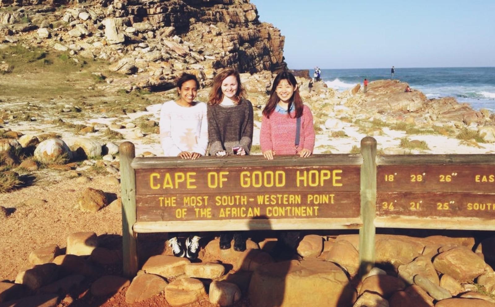 南アフリカ共和国でジャーナリズムインターン中の伴和砂さんが喜望峰を訪問